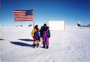 John K Castle at South Pole with flag