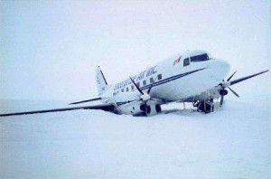 John K Castle at South Pole with plane